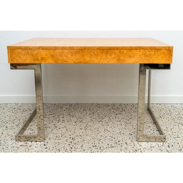 Burlwood and Nickel Writing Desk by Milo Baughman For Sale In West Palm - Image 6 of 12