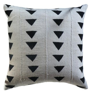 African Light Gray Mudcloth Pillow For Sale