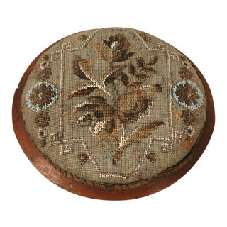 c1900 Antique English Victorian Beaded Ladies Footstool For Sale