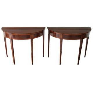 19th Century Federal Demilune Wood Tables - a Pair