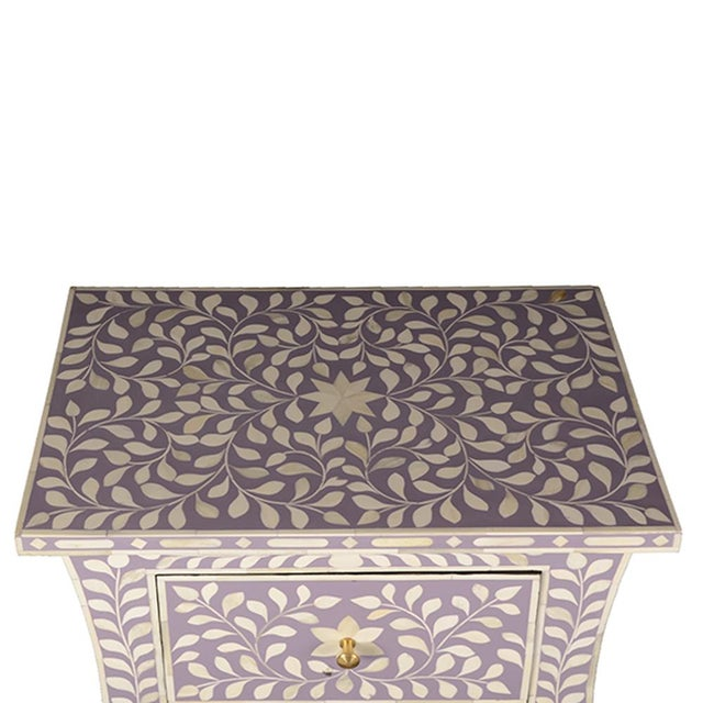Contemporary Imperial Beauty 2 Drawer Bedside Table in Lilac/White For Sale - Image 3 of 5