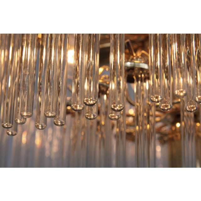 1960s Two-Tier Glass and Brass Chandelier in the Manner of Venini For Sale - Image 5 of 7