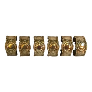 Vintage Heavy Brass Napkin Rings - Set of 6 For Sale