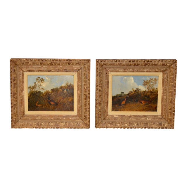 Pair of Early 20th C. Pheasant Hunt Oil Paintings For Sale