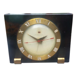 20th Century Traditional Leather and Brass Desk Clock For Sale