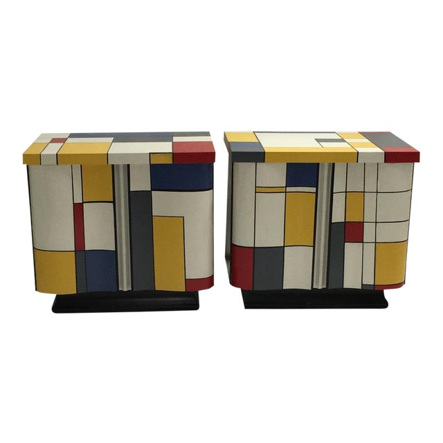 Pop Art Mondrian Inspired Nightstands - a Pair For Sale