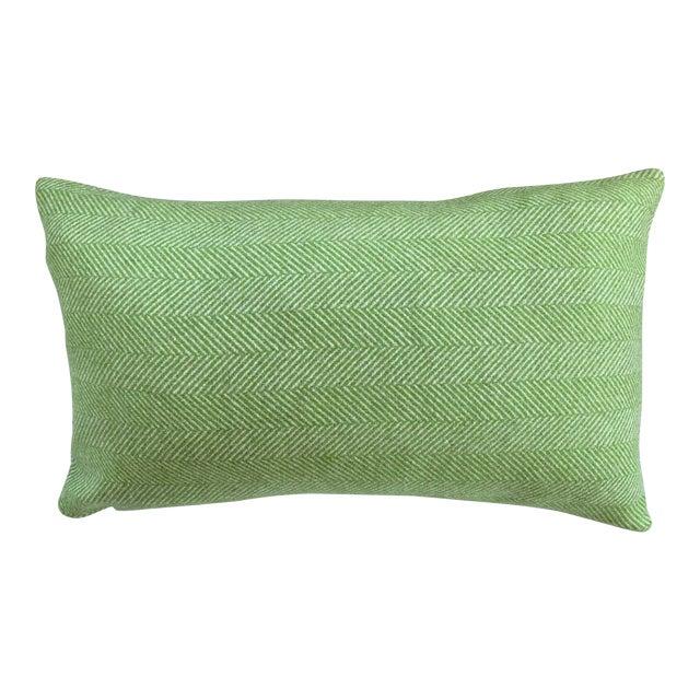 Contemporary FirmaMenta Bright Green Herringbone Wool Lumbar Pillow For Sale