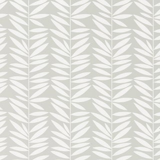 Sample - Schumacher Leaf Stripe Wallpaper in Mist For Sale