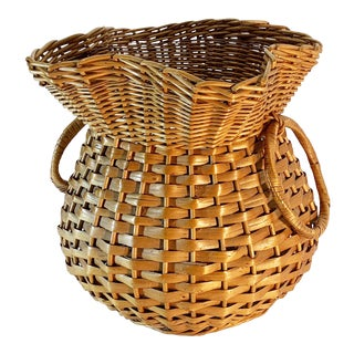 1950s Vintage Wicker Satchel Shaped Basket For Sale