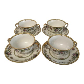 """1970s Noritake """"Cordova"""" Soup Bowls With Saucers - Set for 4 For Sale"""
