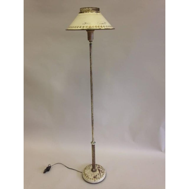 French shabby chic floor lamp in white enameled tole tin circa 1930 french shabby chic floor lamp in white enameled tole tin circa 1930 image aloadofball Choice Image