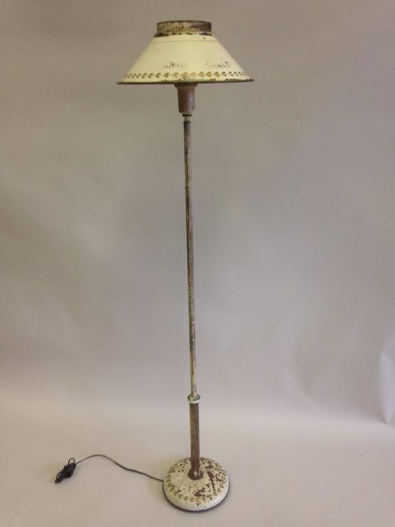 French Shabby Chic Floor Lamp In White Enameled Tole U0027Tin, Circa 1930    Image