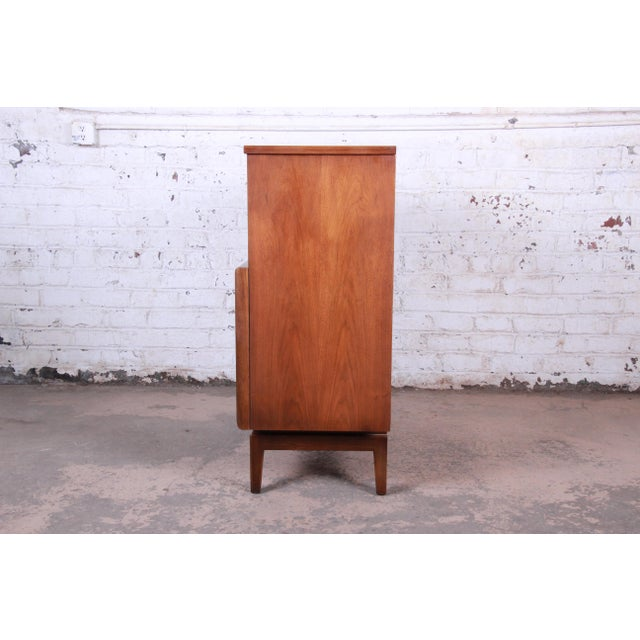Mid-Century Modern Sculpted Walnut Diamond Front Highboy Dresser by United For Sale - Image 12 of 13