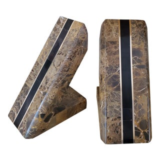 1970s Vintage Stone and Brass Bookends - a Pair For Sale