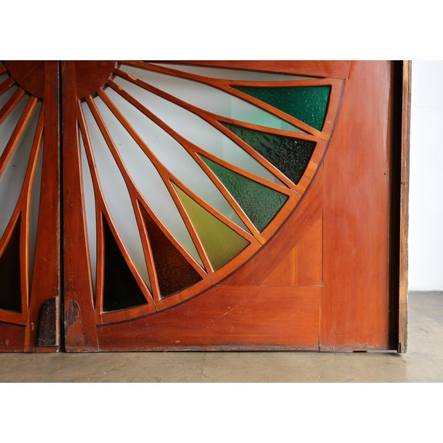 Monumental Stained Glass Sliding Doors Circa 1970 - a Pair For Sale - Image 10 of 13