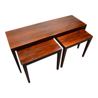 1960s Rosewood Nesting Tables by Severin Hansen for Haslev -- Set of 3 For Sale
