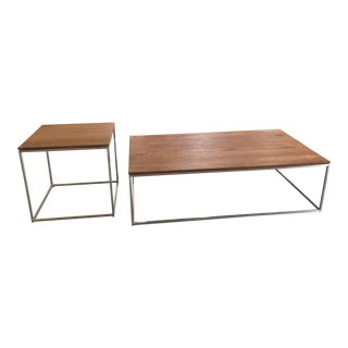 crate barrel walnut stainless steel medium coffee table end table 2 pc set - Crate And Barrel End Tables