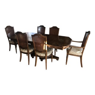 20th Century Traditional Ethan Allen Double Pedestal Classic Manor Collection Dining Set For Sale