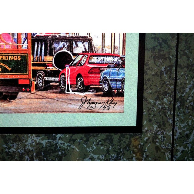 """Acrylic Paint 1993 """"Street Scene"""" Framed and Matted Color Print Signed Johnny Ray For Sale - Image 7 of 11"""