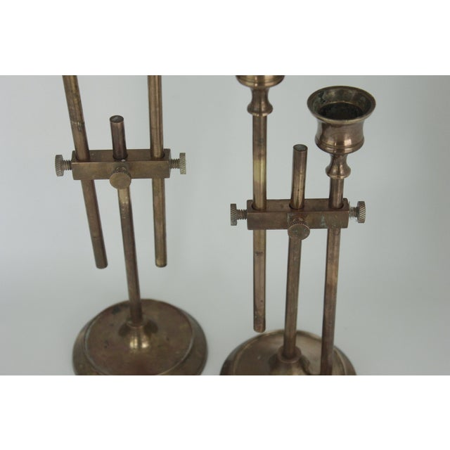 Brass Industrial Adjustable Candlesticks - Pair - Image 5 of 9
