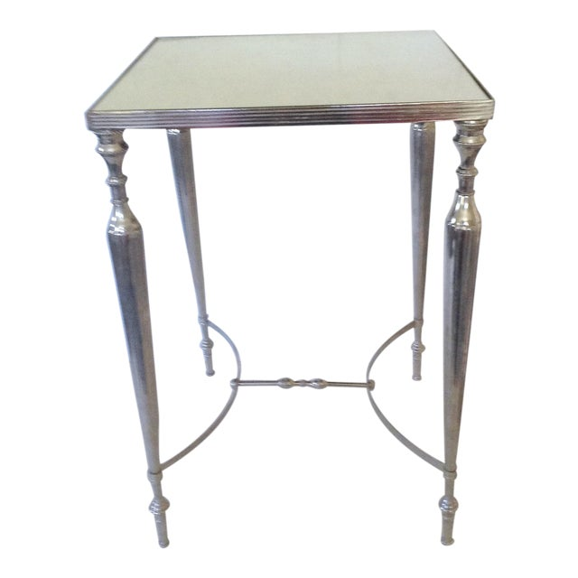 Image of Mirror Topped Silver Side Table