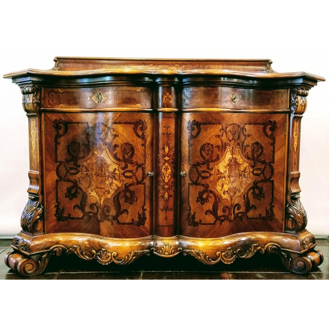 Northern Italian Baroque Style Serpentine Intarsia Sideboard For Sale - Image 13 of 13