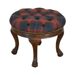 Antique Victorian Claw Foot Round Tufted Footstool For Sale