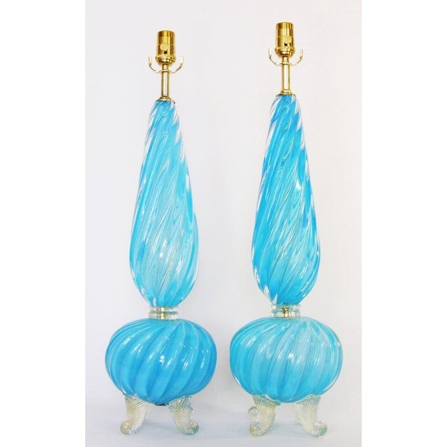 Captivating pair of vintage opalescent intense blue Murano glass table lamps made in Italy by Barovier & Toso, circa...