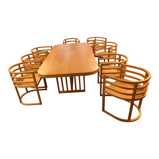 Richard Meier Dining Room Setting Table and 8 Chairs For Sale
