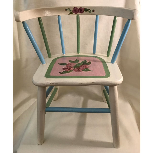 Painted Child's Spindle Chair For Sale - Image 9 of 9