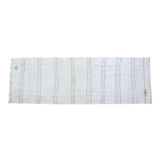 Hand Woven Minimal Runner Rug Pure Hemp Primitive Runner- 3′ X 9′1″ For Sale