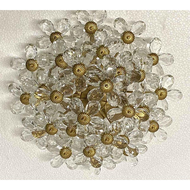 Crystal & Gold Leaf Floral Flush Mount Light Fixture For Sale - Image 6 of 8