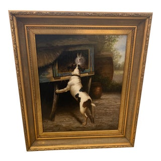 Traditional Painting of Dog and Bunny For Sale