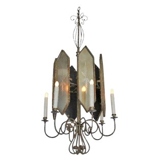 Hollywood Regency Style MirroredChandelier by Randy Esada For Sale