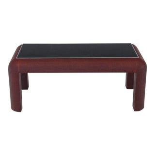 Cloth Wrapped Burgundy Finish Black Glass Chrome Bezel Rectangle Coffee Table For Sale