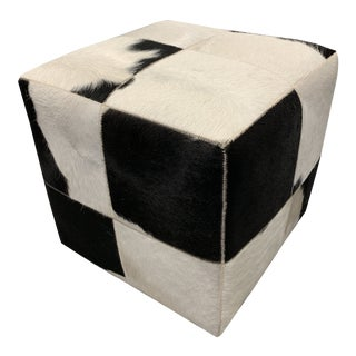 Hair on Hide Cube Stool Ottoman For Sale