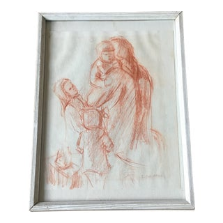 Terra-Cotta Mother and Child Sketch For Sale