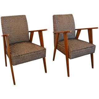 Pair of Italian Mid-Century Modern Armchairs: Style of Pierre Jeanneret For Sale