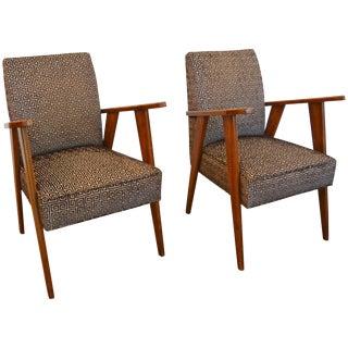 Pair of Italian Mid-Century Modern Armchairs: Style of Pierre Jeanneret