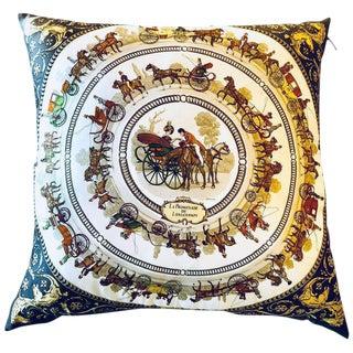 Enormous Hermes 'La Promenade De Longchamps' Overstuffed Silk Pillow