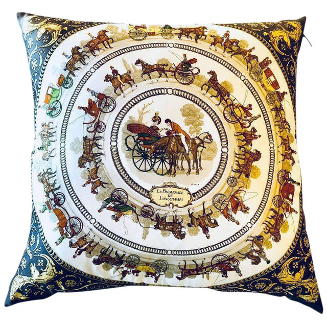 Enormous Hermes 'La Promenade De Longchamps' Overstuffed Silk Pillow For Sale