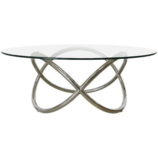 Chrome and Glass Coffee Table For Sale