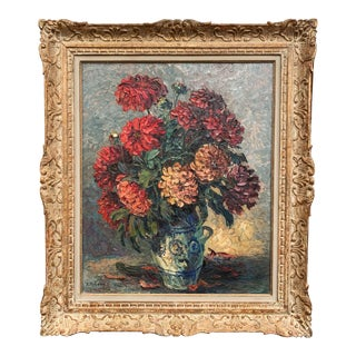 Early 20th Century Flower Oil on Board Painting in Carved Frame Signed P. Forest For Sale