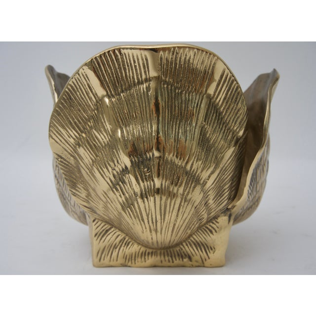 1960s Nautical Brass Clam Shell-Form Cachepot For Sale - Image 4 of 6