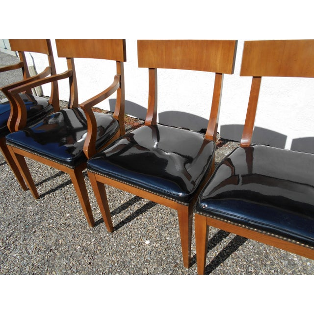 Mid-Century Patent Leather Dining Chairs - Set of 6 - Image 9 of 11
