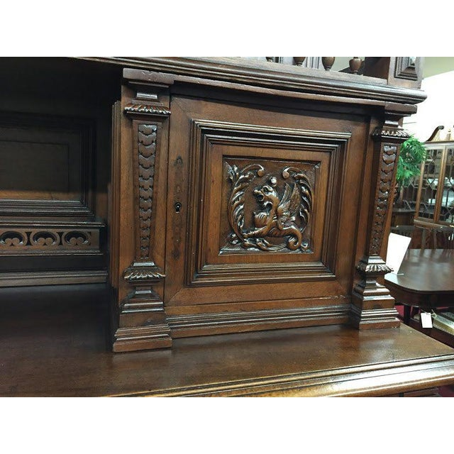 Brown Late 19th Century Antique French Renaissance Style Cabinet For Sale - Image 8 of 13