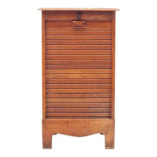 Mid-Century Danish Modern Tiger Oak Tambour Cabinet For Sale