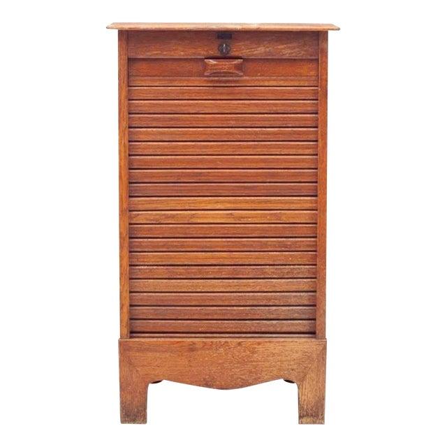 Mid-Century Danish Modern Tiger Oak Tambour Cabinet For Sale