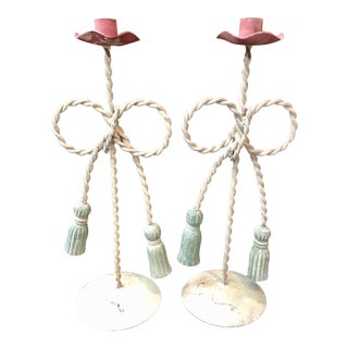 Tole Rope & Tassels Candleholder, Pair For Sale
