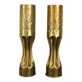 20th Century Ww1 Trench Art Brass - 2 Pieces For Sale